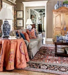 Gorgeous fabrics used to give this room it's personality.