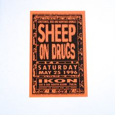 Sheep on Drugs Poster - Vintage In Concert Poster - May 25, 1996 - Ikon Club, Tulsa, OK This poster is original and was from our Mohawk Music Record Store in Tulsa, Oklahoma. Measurements: 17 x 11 inches approximately Condition: Excellent, it is a heavy paper poster. Cool graphics!  We would get many posters for live performances / in store events for a variety of concert venues in Oklahoma, and we would display them in our record store. We saved many of these, and are now selling them in…
