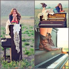 I just LOVE these photos! I definitely want piano pictures for my wedding/senior photos! Piano Photography, Photography Senior Pictures, Girl Senior Pictures, Cute Photography, Outdoor Photography, Senior Year, Senior Photos, Piano Pictures, Piano Girl