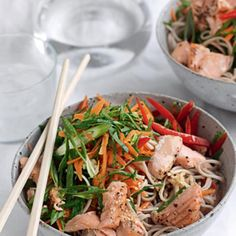 Grilled salmon and Japanese soba noodle salad
