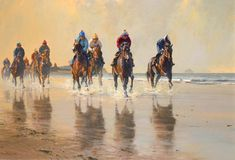 Gentle Work, Beach Scene Limited Edition Horse Racing Print by Artist Peter Smith
