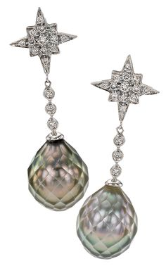 Tahitian faceted pearl earrings with diamonds from Eliko Pearl