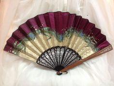 """1900's, 11"""" x 18"""" hand painted silk fan"""