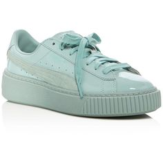 Puma Basket Patent Lace Up Platform Sneakers ($105) ❤ liked on Polyvore featuring shoes, sneakers, blue, platform trainers, patent sneakers, patent leather sneakers, puma trainers and lace up shoes