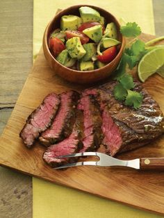 Grilled Tequila-Lime Skirt Steak with Avocado Chopped Salad Recipe - A bold marinade featuring the classic Tex-Mex flavor combination of cilantro and lime is well suited to rich flavorful skirt steak. Steak Recipes, Grilling Recipes, Paleo Recipes, Dinner Recipes, Cooking Recipes, Dinner Ideas, Burger Recipes, Mexican Recipes, Asian Recipes