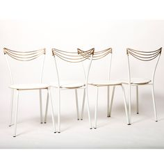 Unknown designer and producer ITALY, Set of four fabulous filigree chairs made in Italy in the SIZE Width: 34 cm Height: 78 cm STOCK 1 Available Filigree, 1970s, Dining Chairs, Italy, Furniture, Design, Home Decor, Italia, Decoration Home