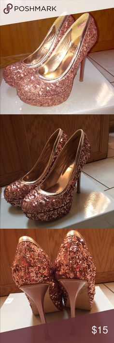 Sequence Heels Rose gold sequence heels. 5inch heel 2inch platform. Worn a few times. Size 8 1/2. In great shape!!!! Baby Phat Shoes Heels