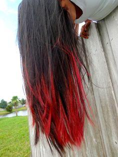 black and red dip dye scene hair