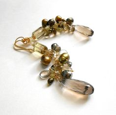 Smokey Tones Multigem Cluster Gemstone Earrings by AFFINITYCouture, $125.00