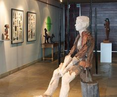 The fine art exhibited in the entrance area to TOKARA Winery is curated by Julia Meintjes, who presents three to four exhibitions here each year. Julia is an authority on South African art, both historical and contemporary. South African Art, Exhibitions, Entrance, Presents, Statue, Fine Art, Contemporary, Creative, Gifts