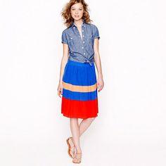 Colorblock-stripe silk skirt - J.Crew