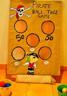 Neverland Themed Pirate and Fairy Party ball toss Pirate Fairy Party, Pirate Party Games, Pirate Activities, Pirate Halloween, Pirate Day, Fairy Birthday Party, Pirate Birthday, Pirate Theme, 4th Birthday Parties