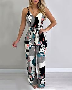 Spaghetti Strap Mixed Print Jumpsuit We Miss Moda is a leading Women's Clothing Store. Offering the newest Fashion and Trending Styles. Trend Fashion, Fashion Outfits, Womens Fashion, Style Fashion, Jeans Fashion, Cheap Fashion, Modest Fashion, Fashion Clothes, Fashion Ideas