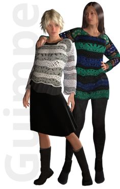 Gratis guimpe patroon voor deze gestreepte trui in 2 varianten.