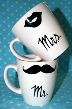 "Cricut Vinyl Ideas | Nap Time Crafts: ""Wedding"" spin on the Mustache Mug"