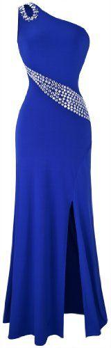Angel-fashions Women's Hollow Out Rhinestones Single Shoulder Slit Long Dress X-Large Blue