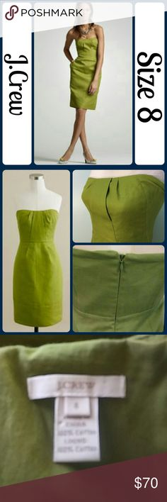 "Sz 8 J Crew Green Cotton cady Strapless Dress J Crew Green Cotton cady Strapless Cocktail Party Dress Excellent   Stunning green strapless dress -fully lined - side hand pockets - boning in the bodice - inner corset for support.  Super easy to dress up or down - add a blazer and wear to work or beads and heels for a special occasion! Stock photo of dress just to give an idea on a model. APPROX Length: 29"" flat across underarms: 15.5""? around waist:30""? flat across hips:20.5"" (hips measured…"