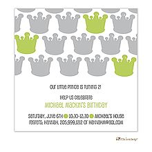 This modern Gray and Lime Crown Invitation for the royal prince is custom printed for your baby shower or party from Little Angel Announcements