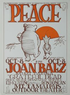PEACE: A get out the vote concert at Mount Tamalpais Outdoor Theater with Joan Baez, Mimi Farini, The Grateful Dead, Quicksilver, Poster art by Stanley Mouse. Rock Posters, Band Posters, Concert Posters, Music Posters, Long John Silver, Joan Baez, Vintage Rock, Vintage Music, Stanley Mouse
