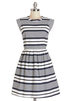 Pier Potluck Dress. Grab a hull lot of friends and this fabulous striped dress for a feast on your boat.  #modcloth