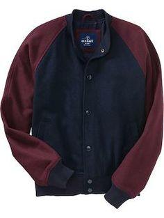 Mens Wool-Blend Baseball Jackets