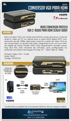 Conversor VGA com Àudio para HDMI 1080p da Protech.