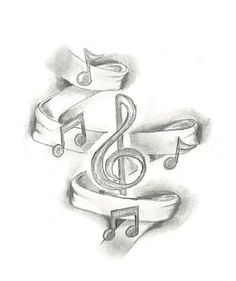 Might add ribbon and music notes as a background to my current music tattoo. Music Drawings, Pencil Art Drawings, Tattoo Drawings, Drawing Sketches, Cool Drawings, Drawing Music Notes, Music Sketch, Sketching, Music Tattoo Designs