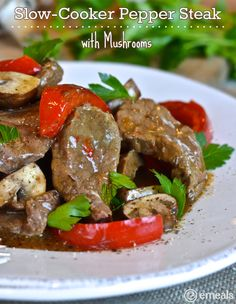 Slow-Cooker Pepper Steak with Mushrooms from #emeals