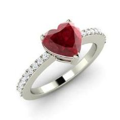 Heart-Cut Ruby Engagement Ring in 14k White Gold with I Diamond (1.85 ct. tw.) | Cocktail | Lavina - Diamondere