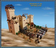 The Southern Lions of Messhamuk departing to assist in the defense of Queenscross. Here the infantry exit the western gate of the city, which is being repaired after sustaining heavy damage in an attack by Victor Revolword's elementals.
