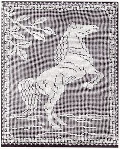 Bee Honeycomb Tablecloth Crochet Pattern, Horse Filet and more - Elizabeth Hiddleson Volume Horse Filet Crochet Pattern Crochet Curtains, Crochet Tablecloth, Crochet Doilies, Tablecloth Ideas, Crochet Appliques, Crochet Shawl, Free Crochet, Doily Patterns, Cross Stitch Patterns