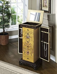 Solid Wood Hand Painted Jewelry Armoire Chest
