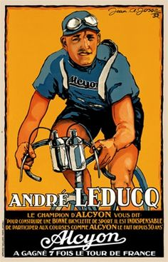 Andre Leduco Cycles poster 1932 France - Vintage Poster Reproductions. French transportation poster features the 7 time winner of the tour de France.