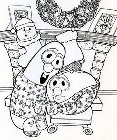 Larry And Bob Christmas Coloring Page Kids ColoringColoring SheetsColouringVeggietalesChristmas