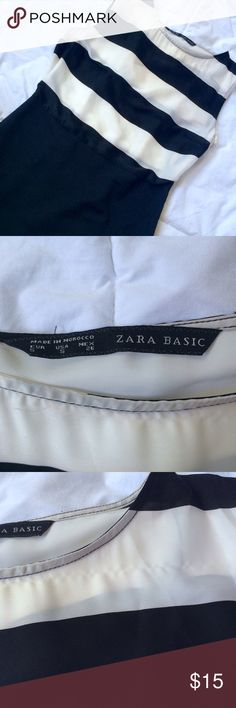 Zara basic black and white dress