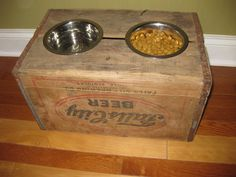 elevated dog feeder made from an old crate..