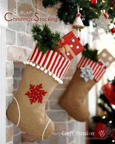 More burlap stockings! These DIY decorations get an extra dose of color from red-and-white stripe fabric.