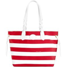 Dooney & Bourke Nylon Stripe Shopper (€100) ❤ liked on Polyvore featuring bags, handbags, tote bags, red stripe, nylon handbags, shopping tote, dooney bourke tote, red tote bag and nylon shopping bags