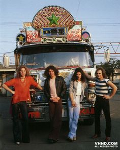 David, Alex, Edward and Michael posing by an extravagantly decorated bus in Japan. This photo is from Van Halen's first Oriental tour in June 1978, when they performed 7 concerts in Japan over a period of 11 days.