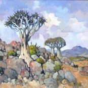 Sold | Theys, Conrad | Three Quiver Trees Brighton College, South Africa Art, National Art Museum, South African Artists, Art Society, Quiver, Art Studies, Art School, Paintings