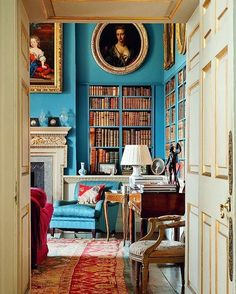 Lovely blue library | http://writersrelief.com