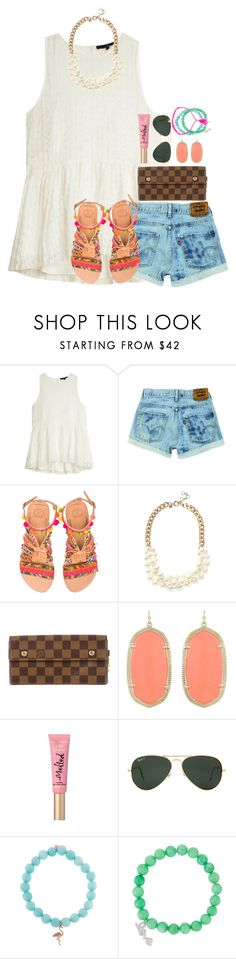 """day 4// Belize☀️"" by thefashionbyem ❤ liked on Polyvore featuring TIBI, Elina Linardaki, J.Crew, Louis Vuitton, Kendra Scott, Too Faced Cosmetics, Ray-Ban, Sydney Evan, Tai and Luis Morais"