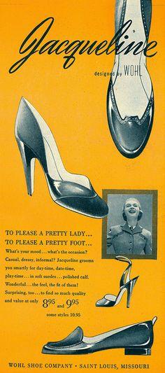 Stylish footwear offerings from Jacqueline, 1951.