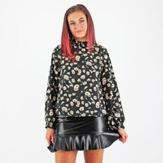 Glamorous Black Dot Daisy Print Long Balloon Sleeve High Neck Blouse Smart Casual Shirts, Pink Cadillac, High Neck Blouse, Long Balloons, Black Dots, Fashion Outfits, Womens Fashion, Fashion Boutique, Work Wear