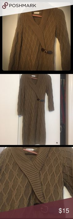 Olive Calvin Klein sweater dress Olive Calvin Klein sweater dress worn only a couple of times. Very comfy for fall/winter and still stylish. Vneck with small belt detailing and cable knit design Calvin Klein Dresses Long Sleeve