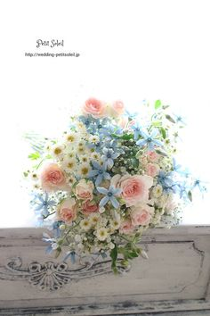 Make the blue flowers an antique purple and mix in some antique rose Pastel Bouquet, Yellow Bouquets, Romantic Wedding Colors, Floral Wedding, Beautiful Flower Arrangements, Floral Arrangements, Bunch Of Flowers, Beautiful Flowers, Bouquet Champetre