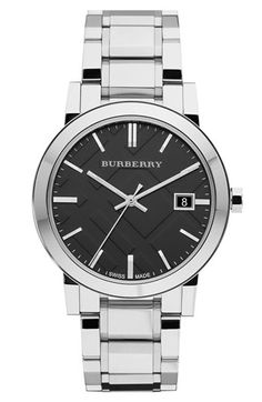 Free shipping and returns on Burberry Large Check Stamped Bracelet Watch, 38mm…