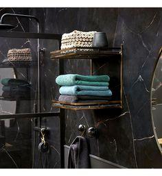Étagère murale 2 tablettes métal/marbre Janita AMPM en noir | Galeries Lafayette Structure Metal, Towel, Bathroom, Am Pm, Galeries Lafayette, Console, Color Marble, Black Marble, Wall Shelves
