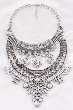 Vintage Rhinestone Layered Tassel Round Waterdrop Necklace For Women