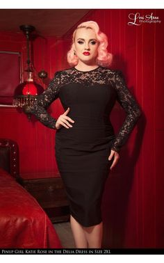 Laura Byrnes- Vintage Goth Pinup Capsule Collection - Delia Dress in Black - Plus Size | Pinup Girl Clothing